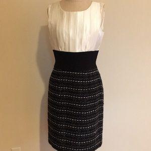 Silk top dress with tweed bottom